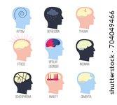 mental illness icon set. stock... | Shutterstock .eps vector #704049466