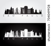 sao paulo skyline and landmarks ... | Shutterstock .eps vector #704049928