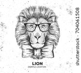 hipster animal lion. hand... | Shutterstock .eps vector #704061508
