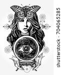 beautiful witch woman t shirt... | Shutterstock .eps vector #704065285