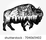 Bison tattoo art. Mountain, forest, night sky. Magic tribal double exposure animals. Buffalo bull travel symbol, adventure tourism - stock vector