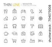collection of navigation thin... | Shutterstock .eps vector #704075008