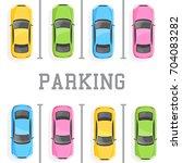 top view of a car parking | Shutterstock .eps vector #704083282