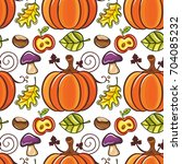 autumn seamless pattern with... | Shutterstock .eps vector #704085232