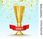 winner gold cup with red ribbon ... | Shutterstock .eps vector #704087008