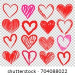 set of hand draw red and pink... | Shutterstock .eps vector #704088022