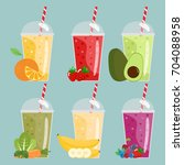 cartoon smoothies. orange ... | Shutterstock .eps vector #704088958