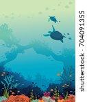 underwater sea life  ... | Shutterstock .eps vector #704091355