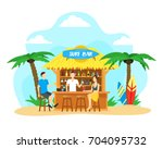 cartoon surf beach bar with... | Shutterstock .eps vector #704095732