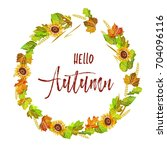 hello autumn postcard with... | Shutterstock .eps vector #704096116