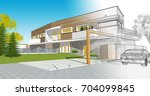 townhouse  architectural sketch ...   Shutterstock . vector #704099845