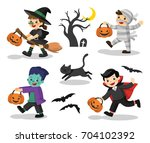 set of happy halloween. funny... | Shutterstock .eps vector #704102392