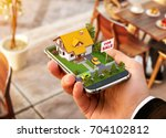 smartphone application for... | Shutterstock . vector #704102812