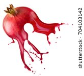 pomegranate with juice splash... | Shutterstock . vector #704103142