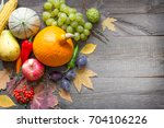 autumn fruits and vegetables...   Shutterstock . vector #704106226