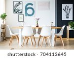 big bright dining room with... | Shutterstock . vector #704113645