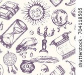 mystical arts   vector drawn... | Shutterstock .eps vector #704118505