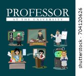 set of professors near the... | Shutterstock .eps vector #704120626