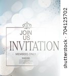 blue invitation card with frame ... | Shutterstock .eps vector #704125702