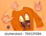 autumn arrives. fashion lady... | Shutterstock . vector #704129386
