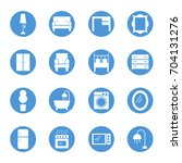 furniture circular icons set