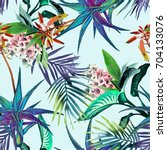 Stock photo tropical seamless pattern watercolor background 704133076