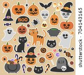 halloween set of illustrations. ... | Shutterstock .eps vector #704143165