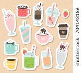 set of cute cartoon vector... | Shutterstock .eps vector #704143186