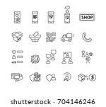 shopping icons set vector   Shutterstock .eps vector #704146246