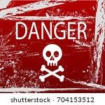 warning sign with skull | Shutterstock .eps vector #704153512