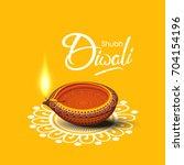 beautiful diwali greeting card... | Shutterstock .eps vector #704154196