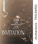 beige invitation card with... | Shutterstock .eps vector #704156902