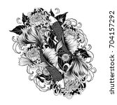 koi fish and chrysanthemum... | Shutterstock .eps vector #704157292
