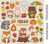 set of cute woodland animals... | Shutterstock .eps vector #704165332