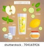 cucumber cocktail vector... | Shutterstock .eps vector #704165926