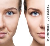 woman's face before and after... | Shutterstock . vector #704166562