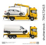 yellow tow truck for... | Shutterstock .eps vector #704172415