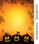 pumpkin silhouettes theme image ... | Shutterstock .eps vector #704180755