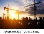 construction worker working on... | Shutterstock . vector #704185282