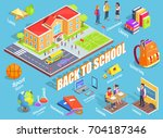 back to school 3d vector... | Shutterstock .eps vector #704187346