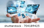 tech devices connected to each... | Shutterstock . vector #704189425