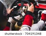 go kart drivers shot from the... | Shutterstock . vector #704191348