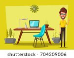 modern workplaces. creative... | Shutterstock .eps vector #704209006