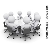 3d men sitting at a round table ... | Shutterstock . vector #70421185