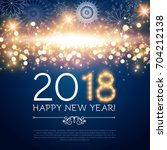 happy new 2018 year poster and... | Shutterstock .eps vector #704212138