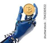 robot's hand holding golden...   Shutterstock . vector #704230522