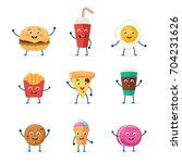 set of cute fast food... | Shutterstock .eps vector #704231626
