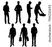 set vector silhouette teenager  ... | Shutterstock .eps vector #704232652