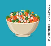 fresh vegetables salad vector... | Shutterstock .eps vector #704234272
