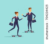 people in suits are riding... | Shutterstock .eps vector #704234425